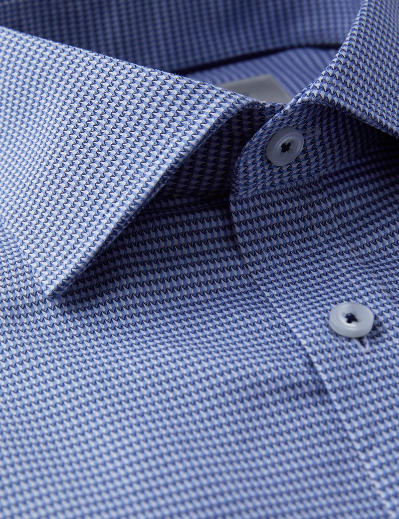 Men's Formal Navy & Blue Dobby Classic Fit Shirt - Single Cuff - Chest Pocket - Easy Iron