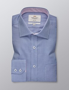 Men's Dress Navy & Blue Dogstooth Classic Fit Shirt - Single Cuff - Chest Pocket - Non Iron