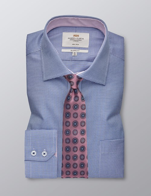 Men's Formal Navy & Blue Dogstooth Classic Fit Shirt - Single Cuff - Chest Pocket - Non Iron