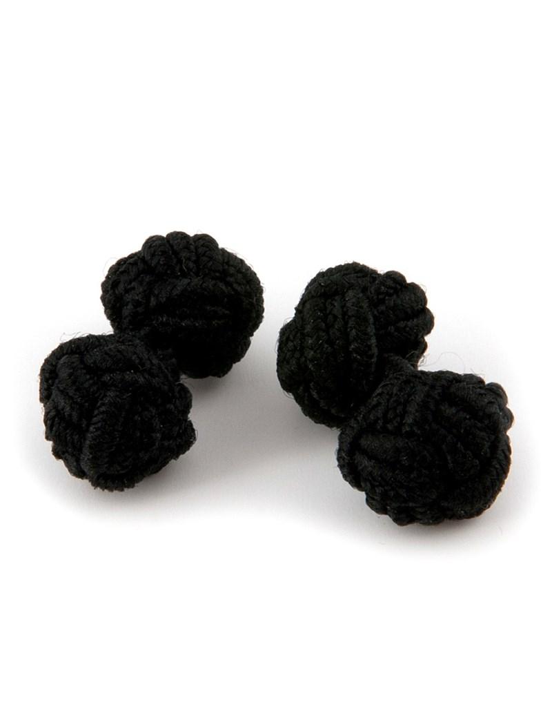 Manschettenknöpfe Bluse - Seidenknoten schwarz