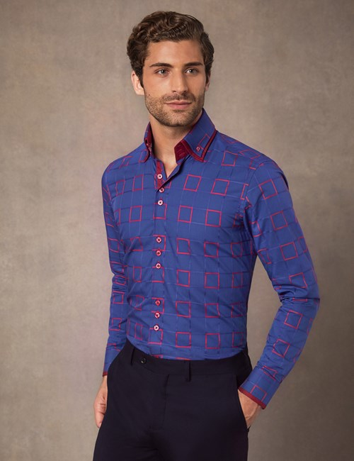 Men's Curtis Navy & Red Dobby Squares Slim Fit Shirt With High Double Collar – Single Cuffs