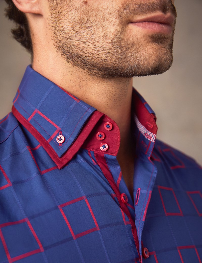 Men's Curtis Navy & Red Dobby Squares Slim Fit Limited Edition Shirt With High Double Collar – Single Cuffs