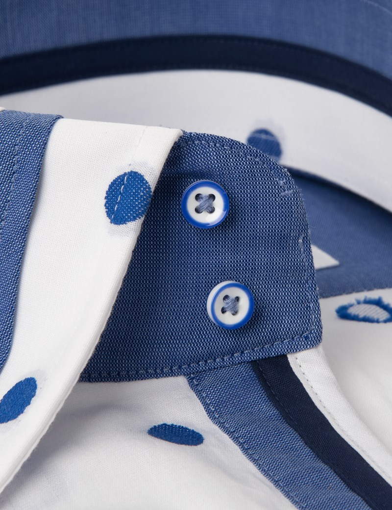 Men's Curtis White & Blue Dobby Spots Slim Fit Limited Edition Shirt - High Collar - Single Cuff
