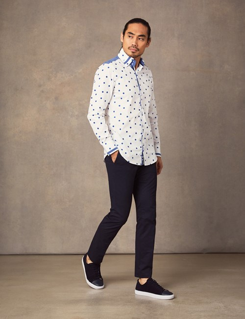 Limited Edition –  Casualhemd – Slim Fit – Polkadots blau