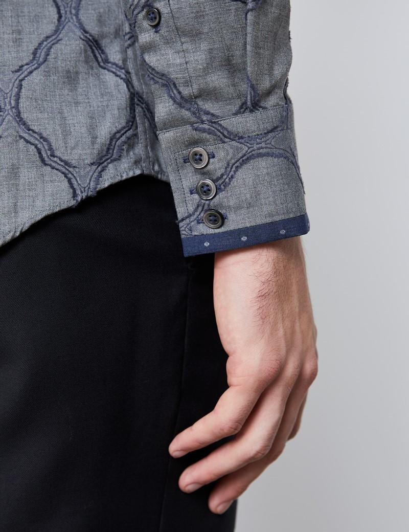 Casualhemd – Limited Edition – Slim Fit – Jacquard grau & blau