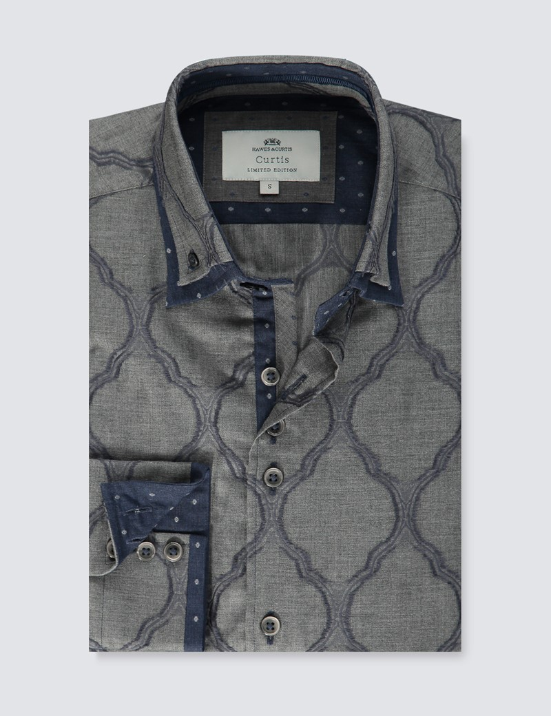 Men's Curtis Grey & Navy Melange jacquard Slim Fit Limited Edition Shirt - High Collar - Single Cuff