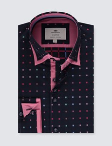Men's Curtis Navy & Coral Dobby Squares Slim Fit Limited Edition Shirt - High Collar - Single Cuff