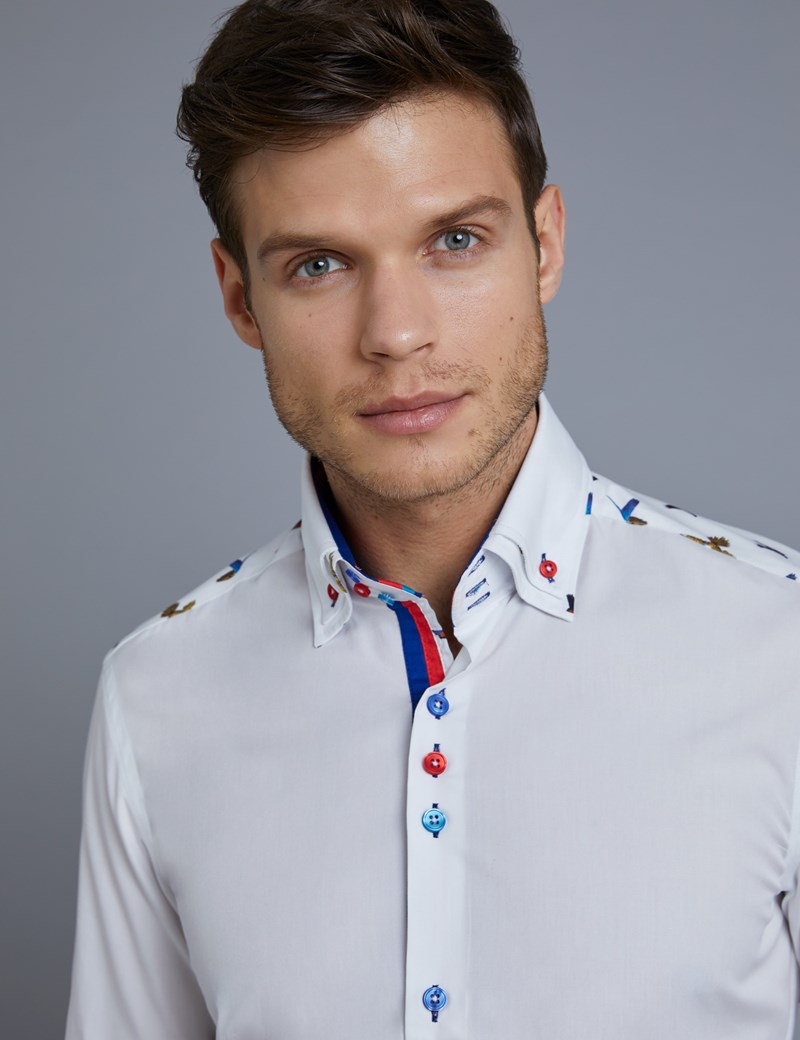 Men's Curtis White Parrot Print Slim Fit Limited Edition Shirt - High Collar - Single Cuff