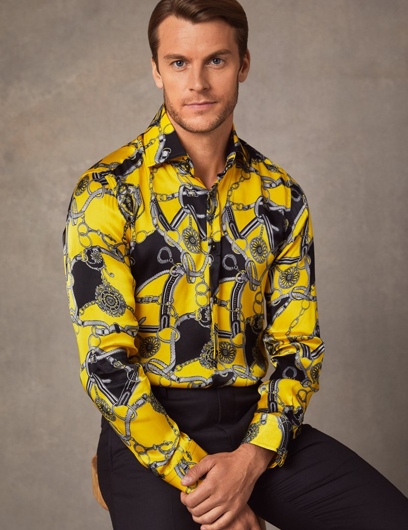 Men's Curtis Yellow & Black Chain Knot Print Slim Fit Limited Edition Satin Shirt -  Single Cuff