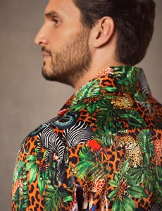 Men's Curtis Green & Orange Safari Jungle Print Slim Fit Limited Edition Satin Shirt – Single Cuff