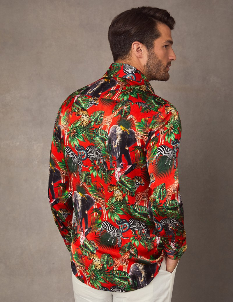 Men's Curtis Red Safari Jungle Print Slim Fit Limited Edition Satin Shirt – Single Cuff