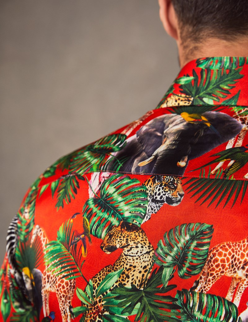 Men's Curtis Red Safari Jungle Print Slim Fit Limited Edition Satin Shirt – Single Cuff