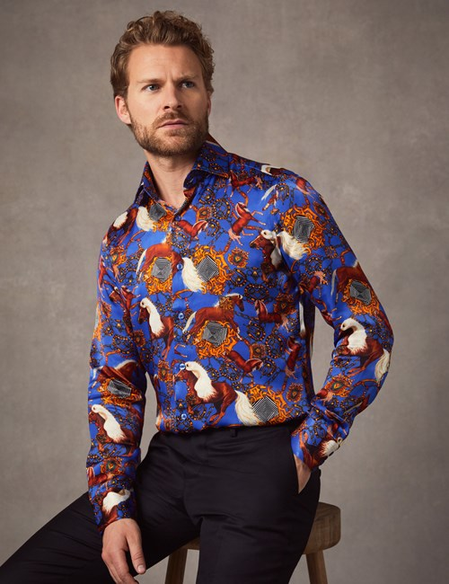 Men's Curtis Electric Blue Horse Print Slim Fit Limited Edition Satin Shirt – Single Cuff
