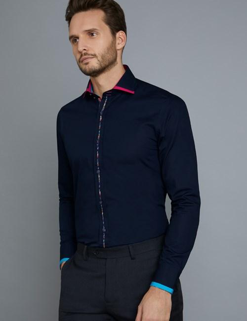 Men's Curtis Navy Plain Slim Fit Limited Edition Shirt -High Collar - Single Cuff