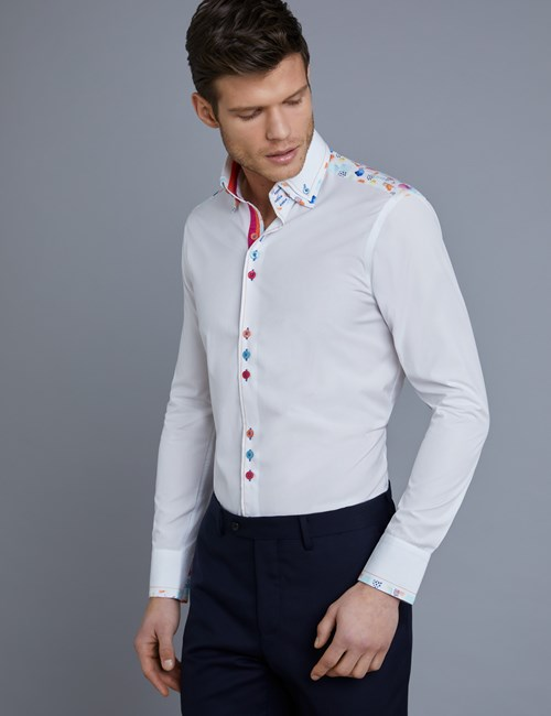 Men's Curtis White Slim Fit Limited Edition Shirt With Water Colours Detail - High Collar - Single Cuff