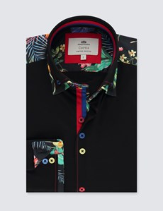 Men's Curtis Black Slim Fit Limited Edition Shirt With Floral Detail  - High Collar - Single Cuff