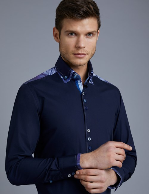 Men's Curtis Blue & White Slim Fit Limited Edition Shirt With Floral Detail - High Collar - Single Cuff