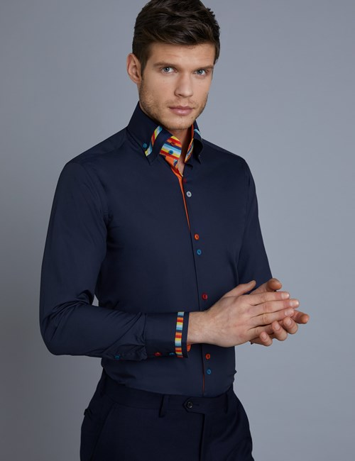 Men's Curtis Blue Jazzy Stripe Slim Fit Limited Edition Shirt - High Collar - Single Cuff