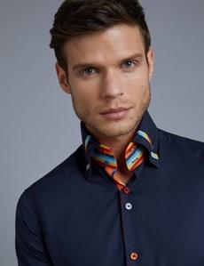 Men's Curtis Blue Jazzy Stripe Slim Fit Limited Edition Shirt - High Collar - Single Cuff