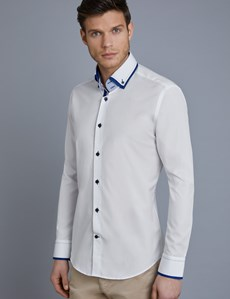 Men's Curtis White & Blue Slim Fit Limited Edition Shirt With Contrast Detail - High Collar - Single Cuff