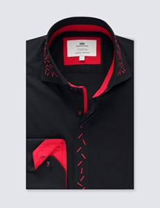 Men's Curtis Black & Red Slim Fit Limited Edition Shirt - High Collar - Single Cuff
