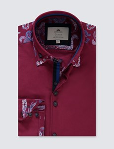Men's Curtis Burgundy Slim Fit Limited Edition Shirt - High Collar - Single Cuff