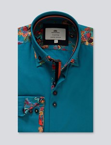 Men's Curtis Turquoise Slim Fit Limited Edition Shirt - High Collar - Single Cuff