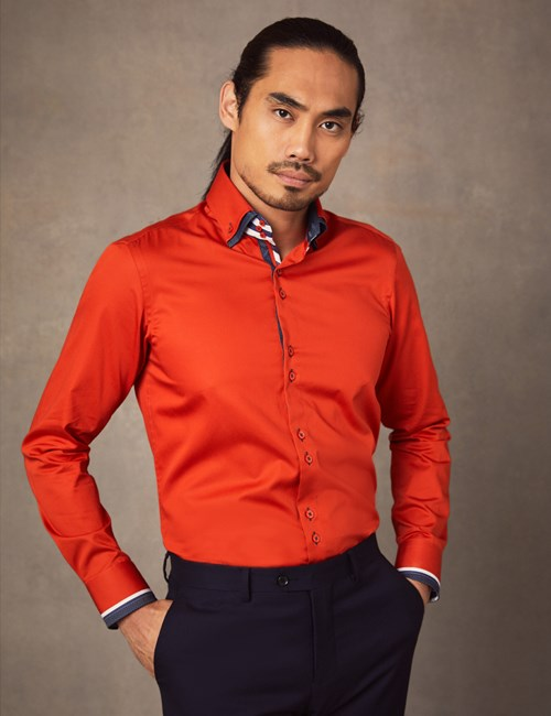 Limited Edition –  Casualhemd – Slim Fit – Orange & blau