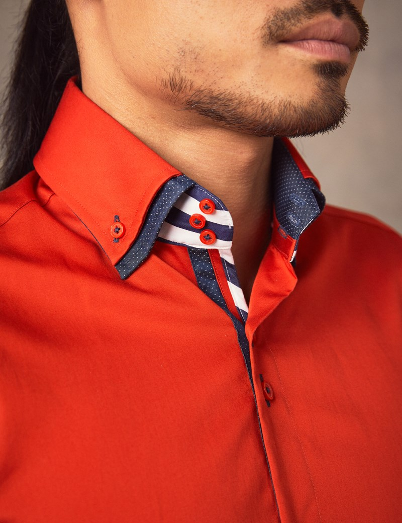 Men's Curtis Orange & Navy Slim Fit Limited Edition Shirt With High Double Collar – Single Cuffs