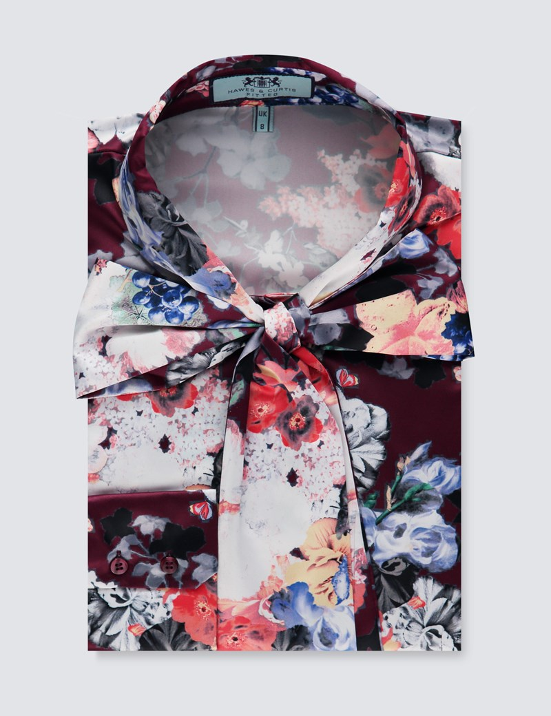 Women's Wine & White Floral Fitted Satin Shirt - Single Cuff - Pussy Bow