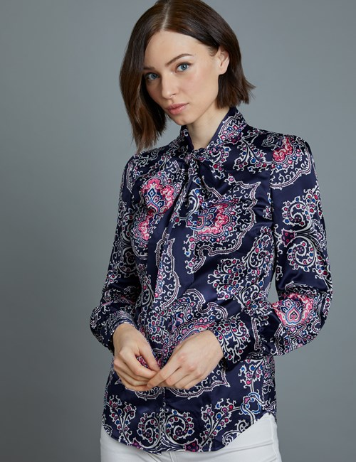 Women's Navy & White Paisley Fitted Satin Blouse - Single Cuff - Pussy Bow