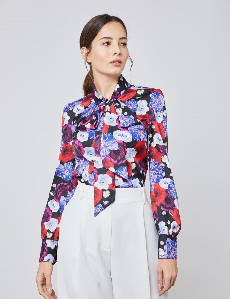 Women's Black & Purple Floral Fitted Satin Blouse - Single Cuff - Pussy Bow