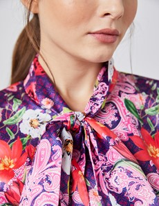 Women's Light Pink & Fuchsia Geometric Floral Print Fitted Satin Blouse - Single Cuff - Pussy Bow