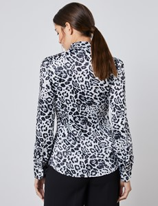 Women's Black & White Leopard Print Fitted Satin Blouse - Single Cuff - Pussy Bow