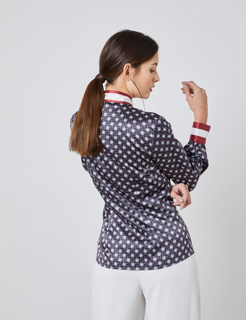 Women's Black & Burgundy Geometric Print Fitted Blouse – Pussy Bow - Design Competition