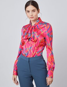 Women's Fuchsia Floral Chains Print Fitted Blouse – Single Cuff - Pussy Bow