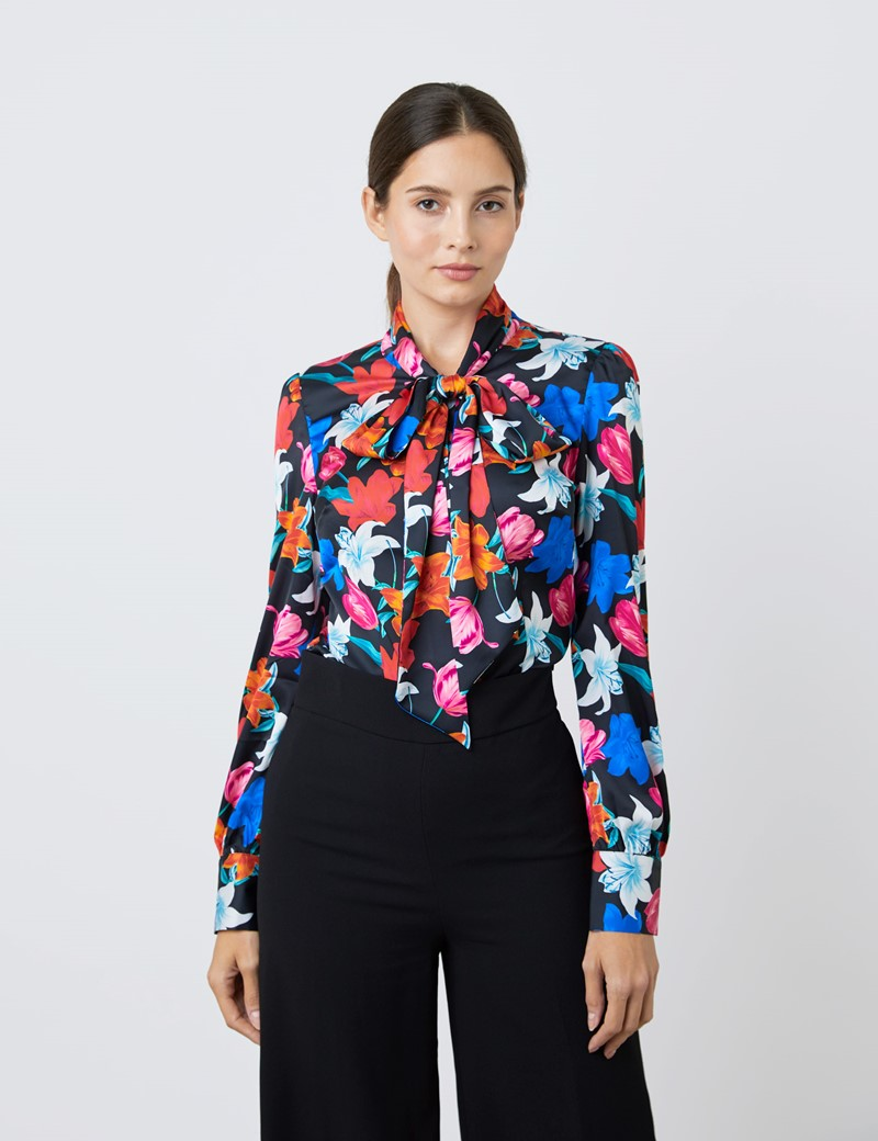 Women's Black & White Large Lilies Print Satin Blouse - Single Cuff - Pussy Bow