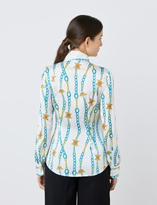 Women's White & Green Chain Links Print Satin Blouse - Single Cuff - Pussy Bow