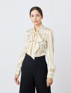 Women's White & Gold Chains Print Satin Blouse - Single Cuff - Pussy Bow