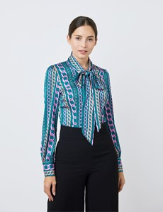 Women's Jade & Pink Large Chains Print Satin Blouse - Single Cuff - Pussy Bow