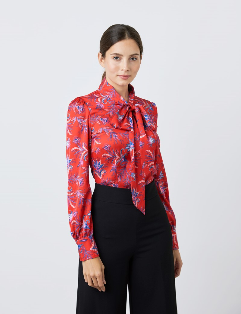 Women's Red & Blue Fine Flowers Print Satin Blouse - Single Cuff - Pussy Bow