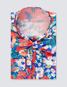 Women's Blue & Red Multi Flowers Print Satin Blouse - Single Cuff - Pussy Bow