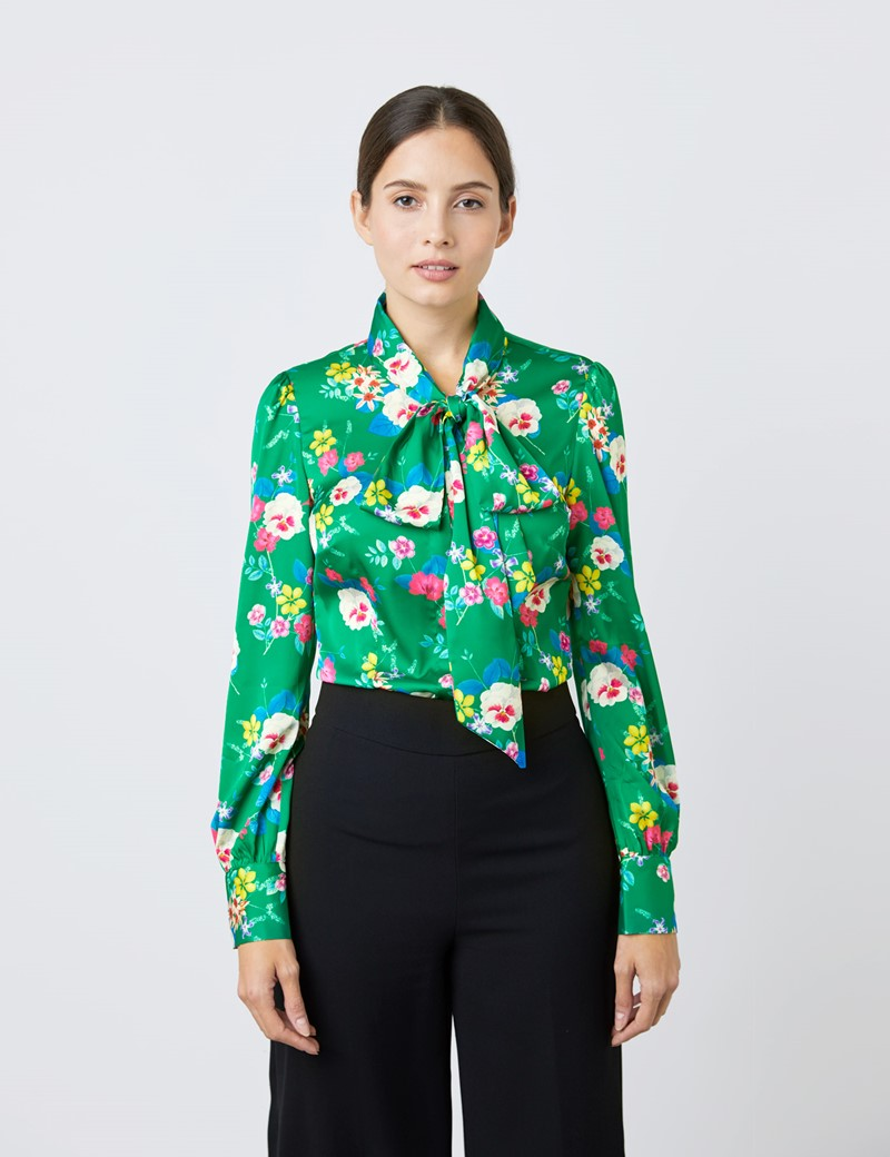 Women's Green & White Multi Floral Print Satin Blouse - Single Cuff - Pussy Bow