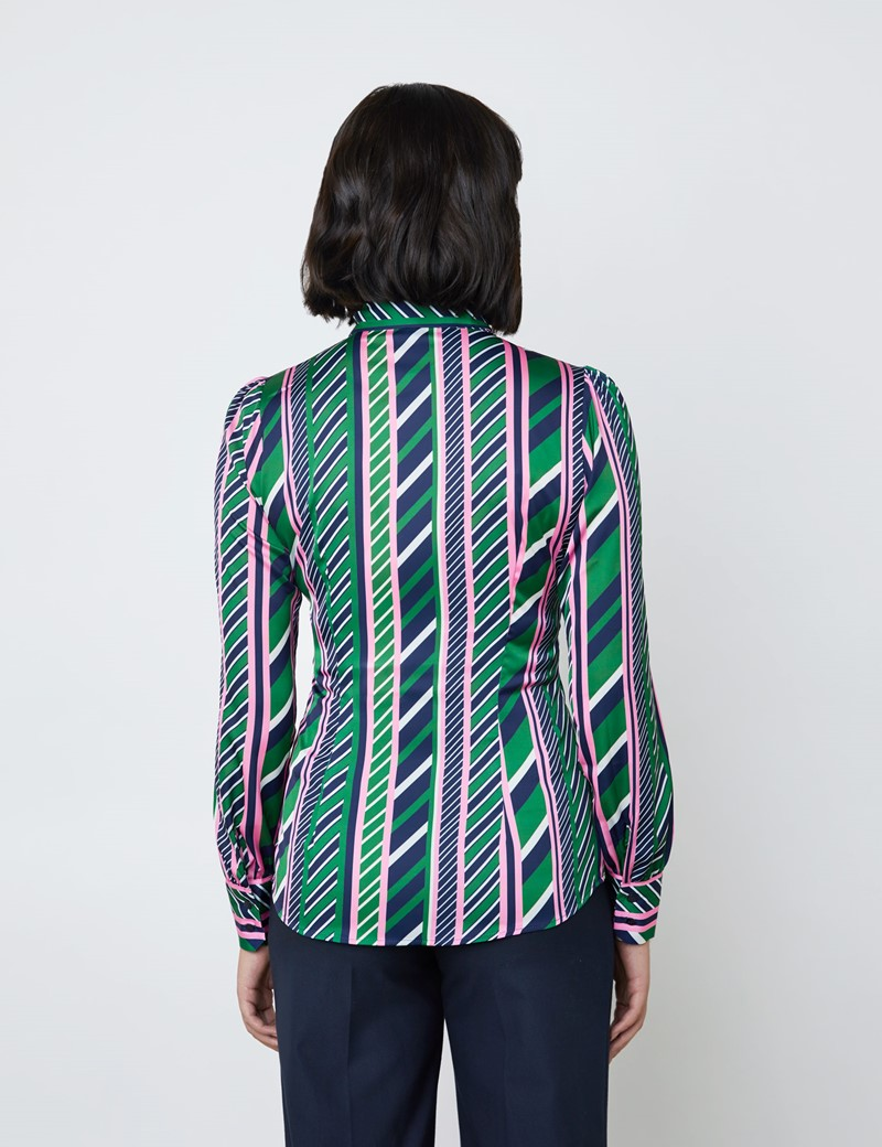 Women's Green & Pink Multi Stripes Print Satin Blouse - Single Cuff - Pussy Bow