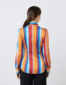 Women's Red & Blue Multi Coloured Chains Print Satin Blouse - Single Cuff - Pussy Bow