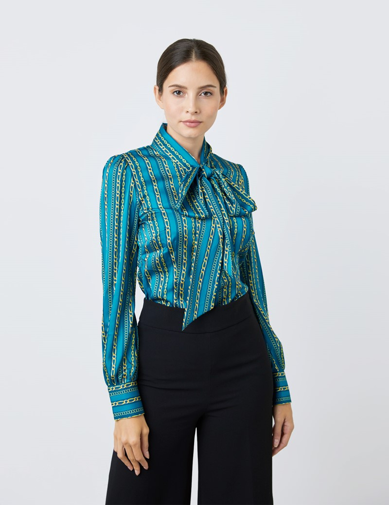 Women's Blue & Light Blue Multi Chains Print Satin Blouse - Single Cuff - Pussy Bow