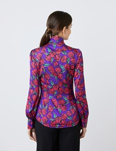 Women's Purple & Red Large Flowers Print Satin Blouse - Single Cuff - Pussy Bow