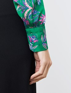 Women's Green & Pink Fine Flowers Print Satin Blouse - Single Cuff - Pussy Bow