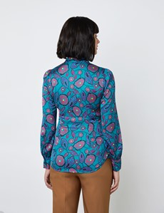 Women's Teal & Plum Flower and Leaves Print Satin Blouse - Single Cuff - Pussy Bow