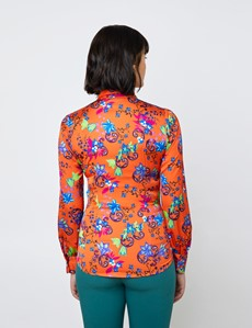 Women's Orange & Blue Multi Flowers Print Satin Blouse - Single Cuff - Pussy Bow